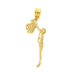 14k gold basketball player slam dunk pendant
