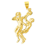 14k gold two basketball players pendant
