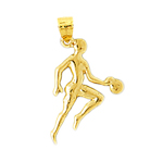 14k gold basketball player silhouette dribbling ball charm