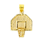 14kt gold basketball backboard net pendant
