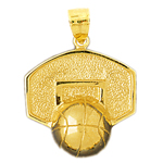 14kt gold basketball and backboard pendant