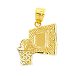 14k gold basketball in basket backboard charm