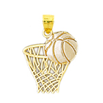 14k two tone gold basketball and net pendant