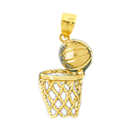 14k gold basketball net charm