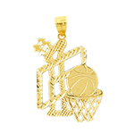14k gold #1 basketball pendant