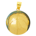 14k gold 3d basketball pendant