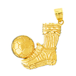 14k gold soccer cleat and ball pendant