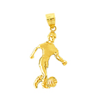 14k gold soccer player with ball charm