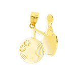 14k gold silhouette bowling pin and ball charm