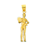 14k gold 3d tennis player pendant
