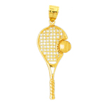 14k gold 36mm tennis racquet and ball pendant