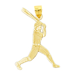 14k gold baseball batter striped uniform pendant