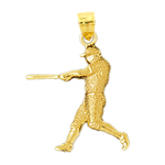 14kt gold baseball batter pendant