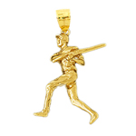 14k gold 3d baseball batter pendant
