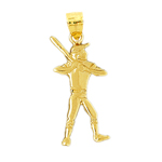 14k gold baseball player batter-up pendant
