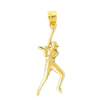 14k gold baseball player pendant