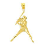 14k gold baseball batter at bat pendant