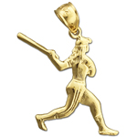 14k gold softball batter pendant