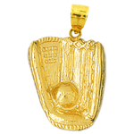 14k gold baseball glove and ball pendant
