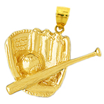 14k gold baseball mitt and bat pendant
