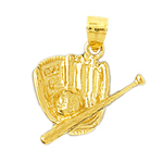 14k gold baseball mitt and bat charm