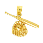 14k gold baseball bat and ball in glove pendant