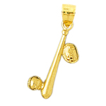 14k gold 3d baseball bat, ball and glove pendant