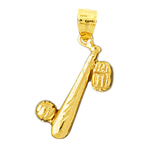 14k gold baseball bat, glove and ball charm