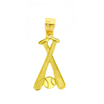 14k gold crossing baseball bats and ball charm