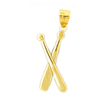 14k gold crossing baseball bats charm