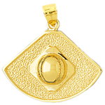 14k gold baseball field pendant