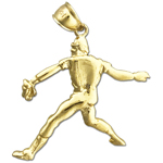 14k gold baseball pitcher pendant
