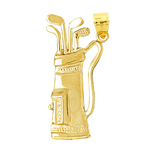 14k gold 35mm golf bag and clubs pendant