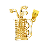 14k gold 3d golf bag charm