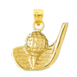 14k gold golf club ball and tee charm