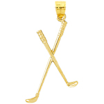 14k gold 3d double golf clubs pendant