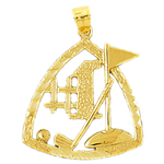14k gold #1 golf pendant