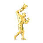 14k gold bodybuilder pendant
