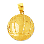 14k gold 3d volleyball pendant