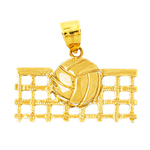 14k gold volleyball and net pendant
