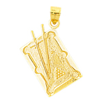 14k gold 3d pool table charm