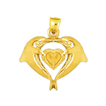 14kt gold dolphins heart pendant