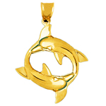 14k gold encircled dolphins pendant