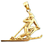 14k gold male skiing pendant