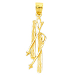 14kt gold snow skis and poles pendant