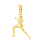 14k gold sports runner pendant