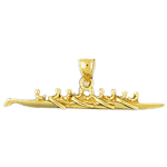 14k gold 3d rowing pendant