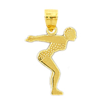 14k gold female diver charm