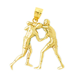 14k gold two boxers fighting pendant