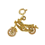 14k two tone gold 3d chopper pendant